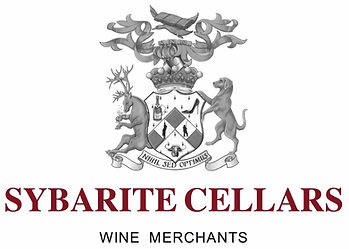 Sybarite Cellars heraldic coats of arms logo, shows a shield with high heel, champagne & buffalo head, crown, crest & motto.