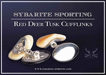 Marketing leaflet with white trim on a black background displaying the red deer ivory tusk cufflinks set in sterling silver.