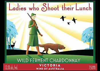 Ladies Who Shoot Their Lunch wine label animation of lady hunter with dog & shotgun, trees, stag & flying duck in background.