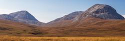 Scottish highland landscape of heather & grass mountain for biodiverse deer management.