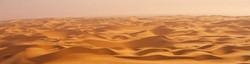 Deep yellow / orange sandy dunes of the Namibian desert safari, horizon expanse of rolling ridges.