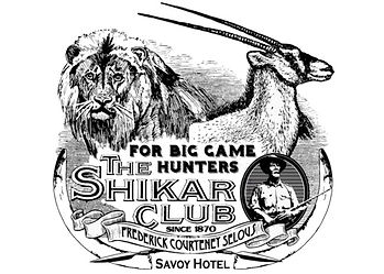 Dangerous Game Club; shikar club logo stating for big game hunters & frederick courteney selous, with a lion, oryx & ivory.