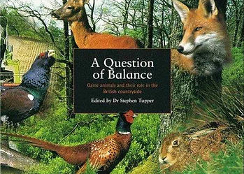 A Question of Balance book cover by Stephen Tapper, displaying roe deer, brown hare, pheasant & capercaillie conservation.