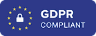 GDPR, General Data Protection Regulation compliant logo, in standard blue, for Sybarite Sporting client & guest information.