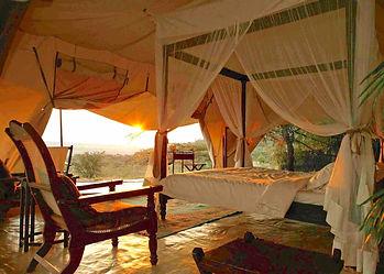 Classic safari camp tent at Cottars Ol Derkesi community conservancy in the Maasai Mara, for non-shooting, hunting guests.