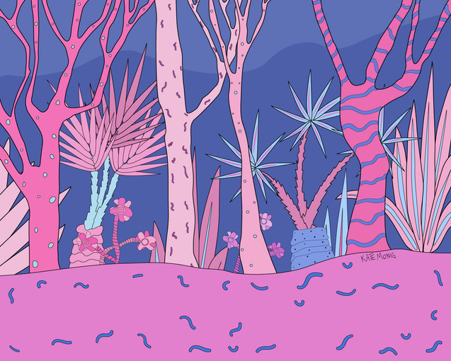 I will live in a pink and blue forest