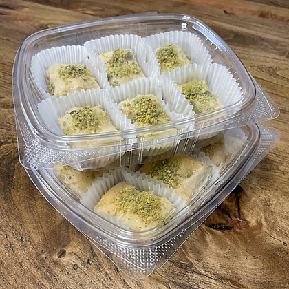 12 pieces of Wally's famous homemade baklava. Baked fresh dailywith cashews in the middle and pistachios on top.