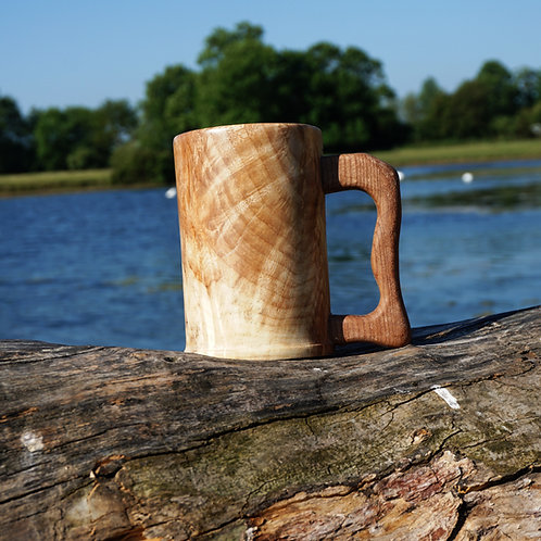 Hand Turned Sycamore Tankard with Elm Handle