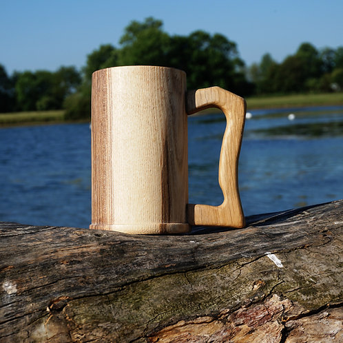 Hand turned Olive Ash Tankard with Oak Handle