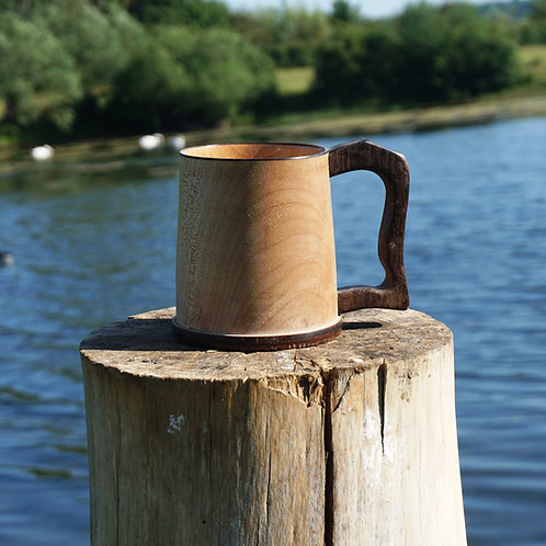Hand turned Elm Tankard with Fumed Oak Handle