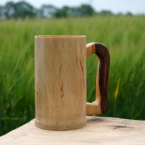Hand turned Sycamore Tankard with Yew Handle