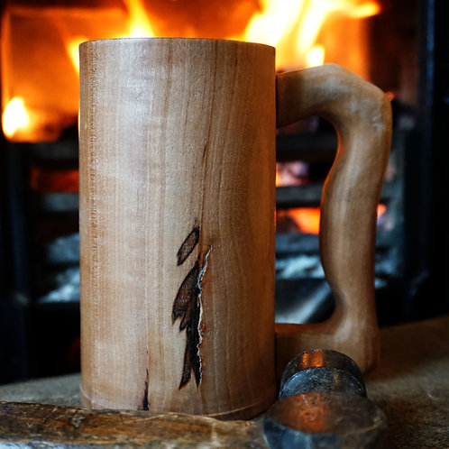 Hand turned Apple Tankard with Sycamore Handle