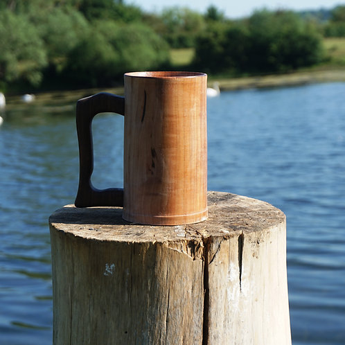 Hand turned Apple Tankard with Fumed Oak Handle