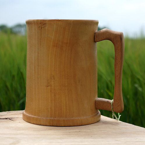 Hand turned Sycamore tankard with Beech handle