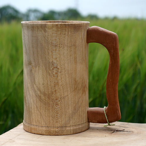 Hand turned Sycamore Tankard with  Meranti Handle
