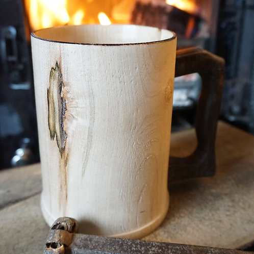 Hand turned Sycamore Tankard with Fumed Oak Handle