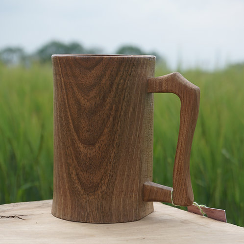 Hand turned Walnut Tankard with Elm Handle