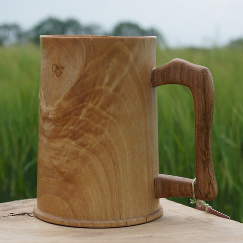 Hand turned Cherry Tankard with Oak Handle