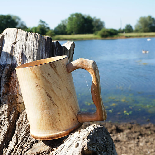 Hand turned Sycamore Tankard with Spalted Sycamore Handle