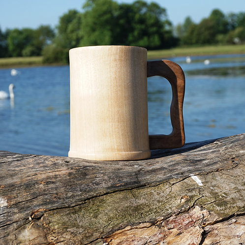 Hand turned Sycamore Tankard with Walnut Handle