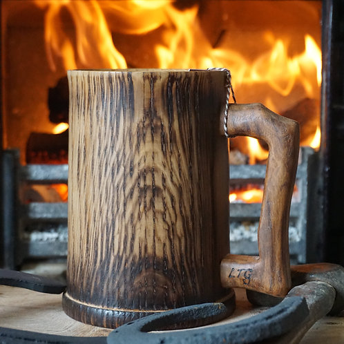 Hand turned Oak Tankard with Tiger Oak Handle
