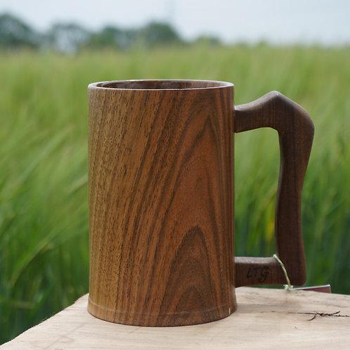 Hand turned Walnut Tankard with Fumed Oak Handle