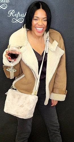 Pink faux fur purse