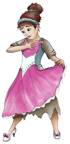 Illustratie 'Assepoester' houdt jurk voor