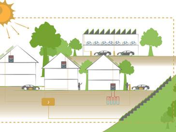 Illustraties van duurzame gebouwen