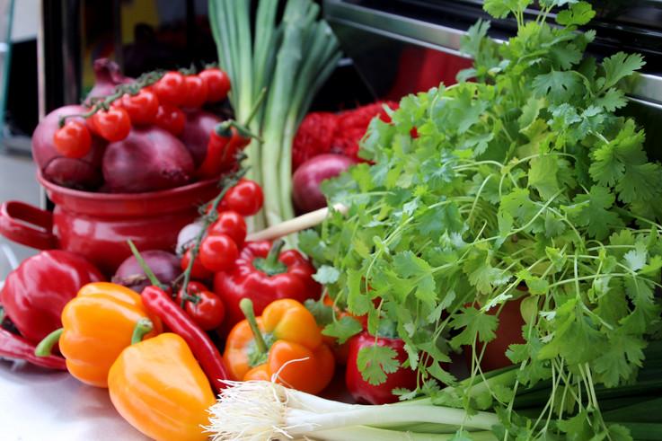 Foodfoto van verse groenten en kruiden