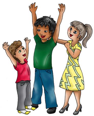 Illustratie juigend gezin