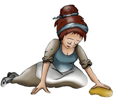 Illustratie 'Assepoester' maakt schoon