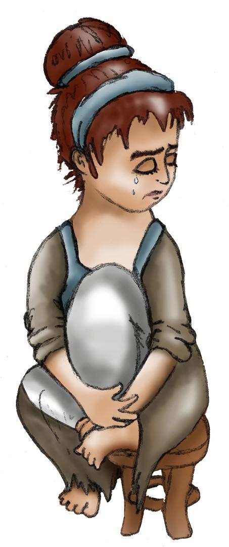Illustratie 'Assepoester' verdrietig