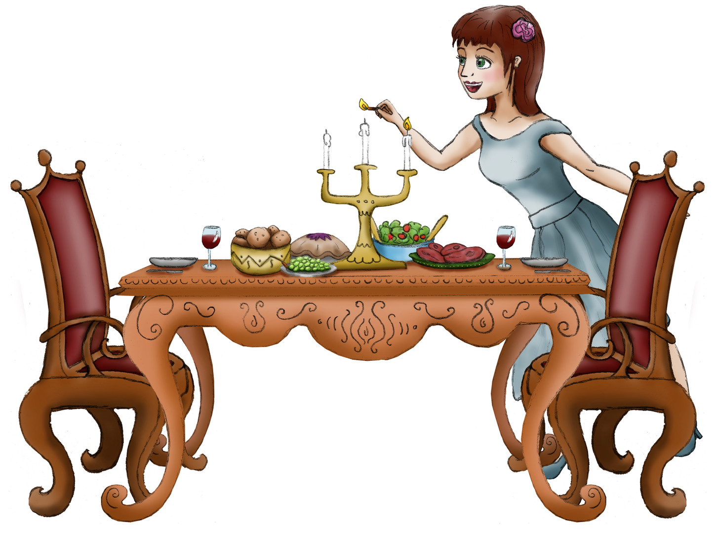 Illustratie 'Assepoester' dekt tafel