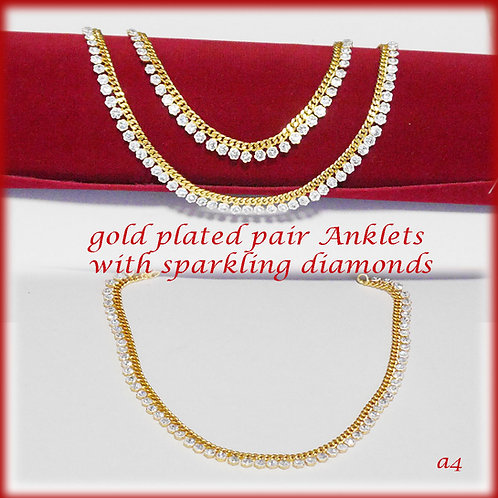 KAPA traditional gold plated anklets with sparkling diamonds (2pc)