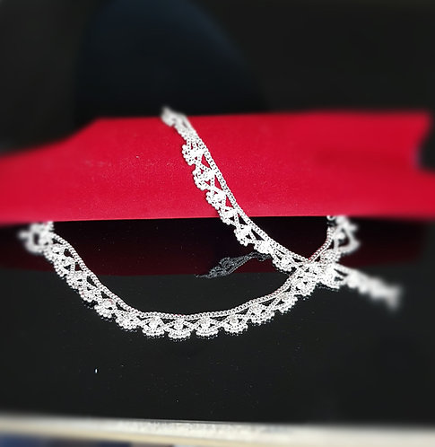 Silver anklets with diamonds