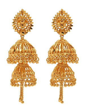 Gold-Plated-Double-Jhumka-Earrings-SDL36