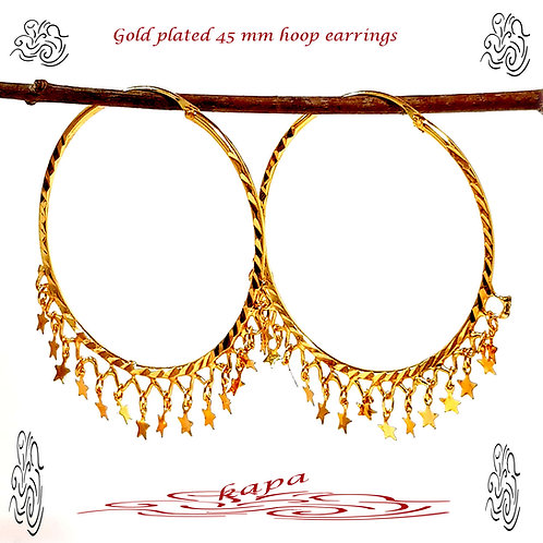 KAPA large Indian gold plated hoop with star charm earrings 45 mm