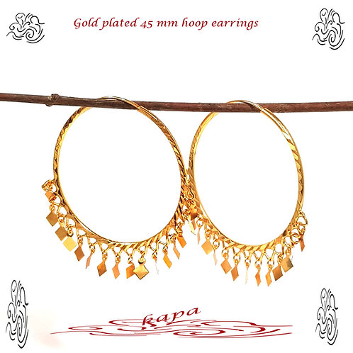 KAPA large Indian gold plated hoops with charm earrings 45 mm