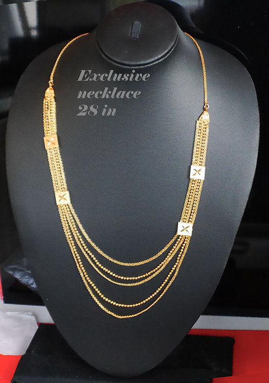 beautiful 3 layer gold plated 28 in Necklace