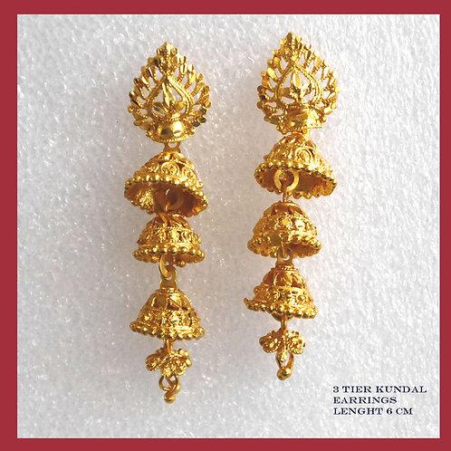 KAPA 3-tier tassel drop jhumka design earrings