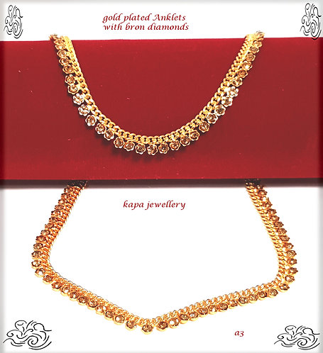 KAPA traditional gold plated anklets with diamonds (2pc)