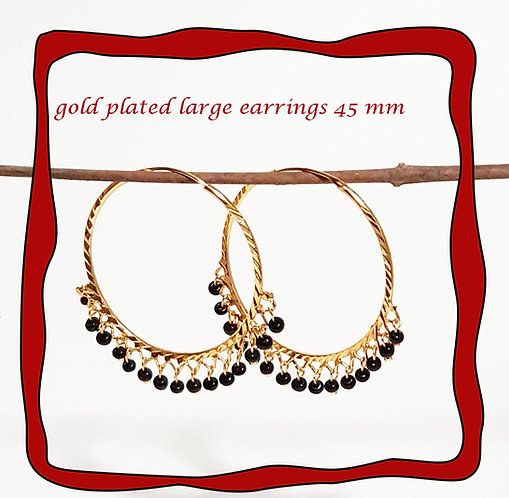 KAPA large Indian gold plated hoop with black charm earrings 45mm