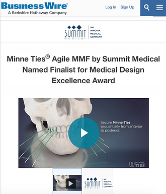 Minne Ties® Agile MMF by Summit Medical Named Finalist for Medical Design Excellence Award