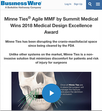Business Wire: Minne Ties® Agile MMF by Summit Medical Wins 2018 Medical Design Excellence Award