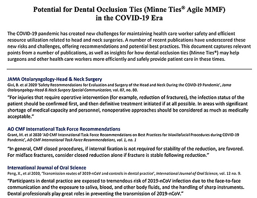 Potential for Dental Occlusion Ties (Minne Ties® Agile MMF) in the COVID-19 Era