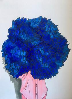 Hortense - série Portraits aux fleurs - Available in shop