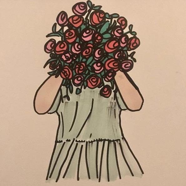 Suis pas là - série Portraits aux fleurs - Available in shop