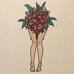Le cul bordé de fleurs - série Portraits aux fleurs - Available in shop