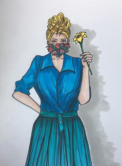 Masque - série Portraits aux fleurs - Available in shop